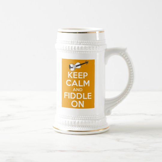 Keep Calm and Fiddle On (Orange) Beer Stein