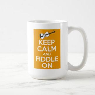 Keep Calm and Fiddle On (Orange) Coffee Mug