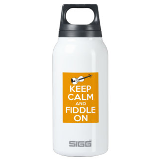 Keep Calm and Fiddle On (Orange) Insulated Water Bottle