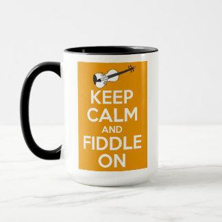 Keep Calm and Fiddle On (Orange) Mug