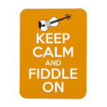 Keep Calm and Fiddle On (Orange) Rectangular Magnets