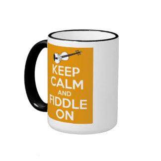 Keep Calm and Fiddle On (Orange) Ringer Mug