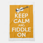 Keep Calm and Fiddle On (Orange) Towel