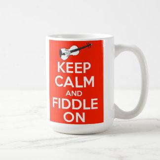 Keep Calm and Fiddle On Red Coffee Mug