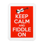 Keep Calm and Fiddle On Red Flexible Magnets