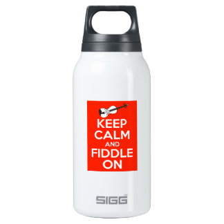 Keep Calm and Fiddle On Red Insulated Water Bottle