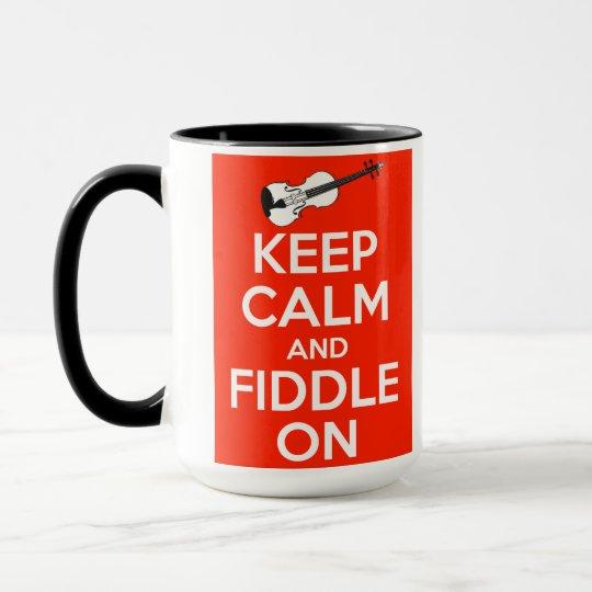 Keep Calm and Fiddle On Red Mug