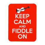 Keep Calm and Fiddle On Red Rectangular Magnet