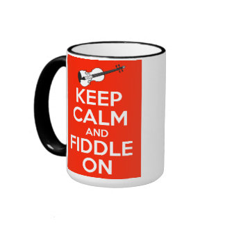 Keep Calm and Fiddle On Red Ringer Mug