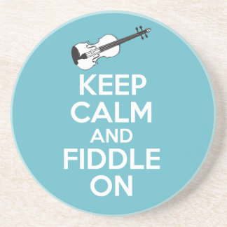 Keep Calm and Fiddle On Violin on Blue Drink Coaster