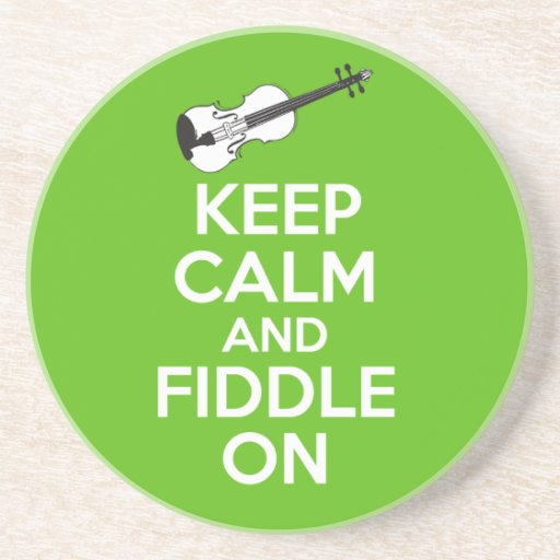 Keep Calm and Fiddle On Violin on Green Drink Coasters