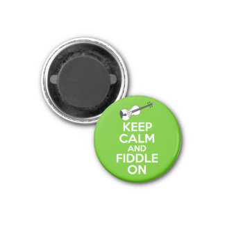 Keep Calm and Fiddle On Violin on Green Magnet