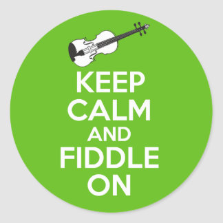 Keep Calm and Fiddle On Violin on Green Round Sticker