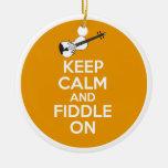 Keep Calm and Fiddle On violin on Orange Christmas Ornament