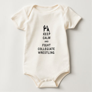 Keep Calm and Fight Collegiate Wrestling Baby Bodysuit