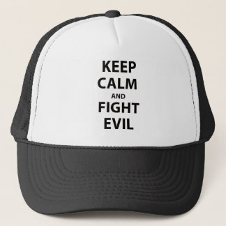 Keep Calm and Fight Evil Trucker Hat