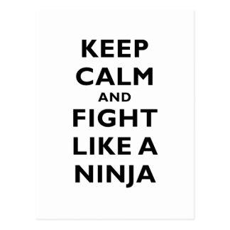 Keep Calm and Fight Like a Ninja Postcard
