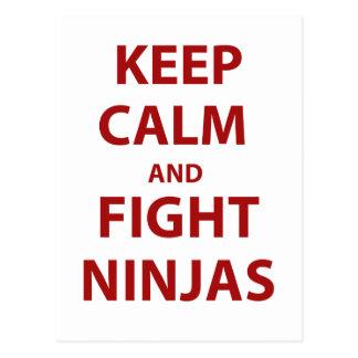 Keep Calm and Fight Ninjas Postcard