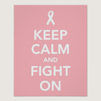 Keep Calm and Fight On against breast cancer print