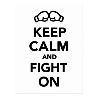 Keep calm and fight on Boxing Postcard