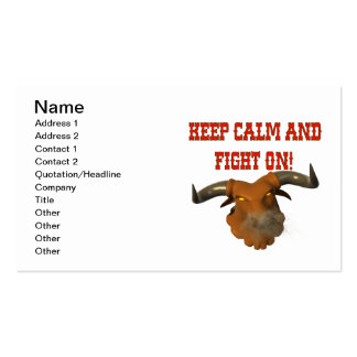 Keep Calm And Fight On Business Card Template
