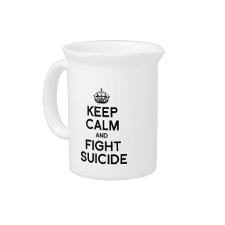 KEEP CALM AND FIGHT SUICIDE BEVERAGE PITCHER