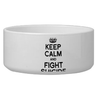 KEEP CALM AND FIGHT SUICIDE DOG FOOD BOWLS
