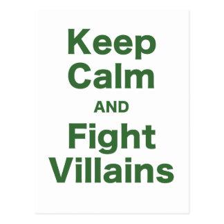 Keep Calm and Fight Villains Postcard