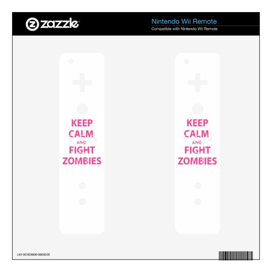 Keep Calm and Fight Zombies Nintendo Wii Remote Decal