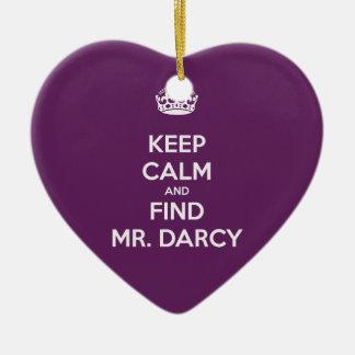 Keep Calm and Find Mr. Darcy Jane Austen Ceramic Ornament