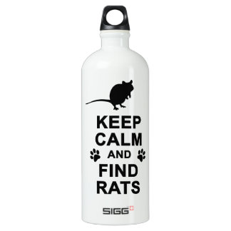 Keep Calm and Find Rats Aluminum Water Bottle
