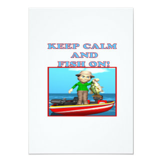 Keep Calm And Fish On 5x7 Paper Invitation Card