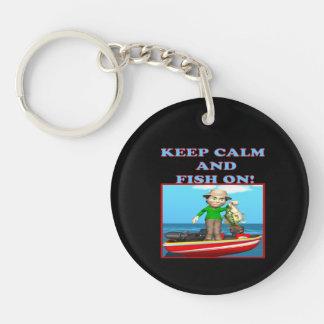 Keep Calm And Fish On Keychain