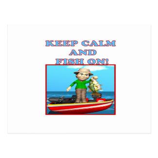 Keep Calm And Fish On Postcard