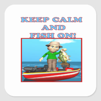 Keep Calm And Fish On Square Sticker