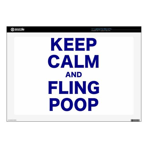 Keep Calm and Fling Poop Laptop Skin