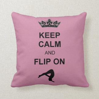 Keep Calm and Flip Gymnastics square pillow