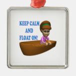 Keep Calm And Float On 2 Square Metal Christmas Ornament