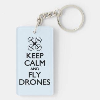 Keep Calm and Fly Drones Double-Sided Rectangular Acrylic Keychain