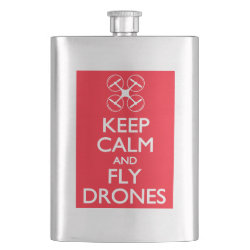 Stainless Steel Flask with Keep Calm and Fly Drones design