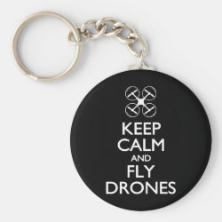 Basic Button Keychain with Keep Calm and Fly Drones design