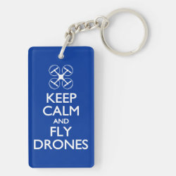 Rectangle Keychain (double-sided) with Keep Calm and Fly Drones design