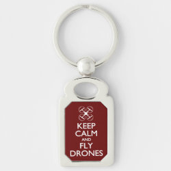 Rectangle Metal Keychain with Keep Calm and Fly Drones design