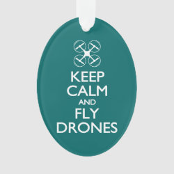 Oval Acrylic Ornament with Keep Calm and Fly Drones design
