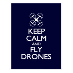 Postcard with Keep Calm and Fly Drones design