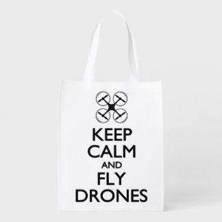 Keep Calm and Fly Drones Reusable Grocery Bag