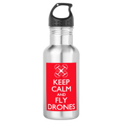 Water Bottle (24 oz) with Keep Calm and Fly Drones design