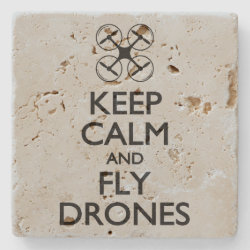 Travertine Stone Coaster with Keep Calm and Fly Drones design