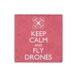 Marble Magnet with Keep Calm and Fly Drones design