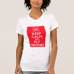 Women's American Apparel Fine Jersey Short Sleeve T-Shirt with Keep Calm and Fly Drones design